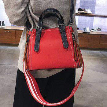 PU Leather Contrasting Color Handbag With Strap -  RED