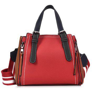 PU Leather Contrasting Color Handbag With Strap - RED RED