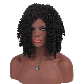 Short Inclined Bang Jumbo Braided Synthetic Wig -  BLACK