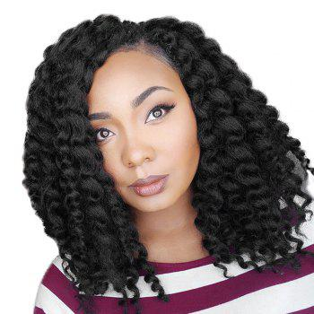 Short Inclined Bang Jumbo Braided Synthetic Wig - BLACK BLACK