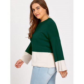 Pull Contrastant à Col Montant Grande Taille - Vert profond 4XL