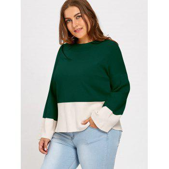 Color Block Mock Neck Plus Size Sweater - DEEP GREEN 2XL
