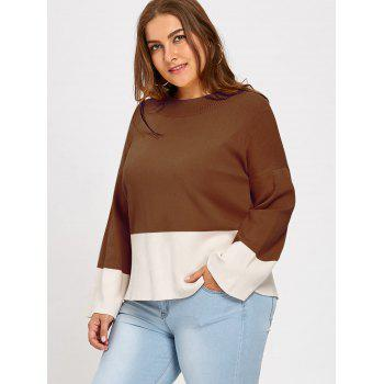 Color Block Mock Neck Plus Size Sweater - COFFEE 4XL