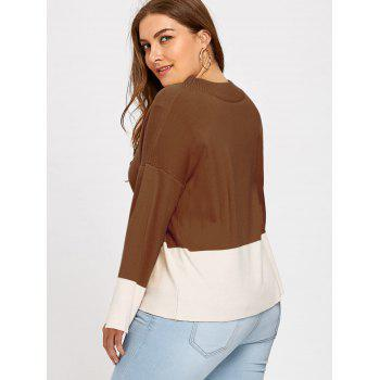 Color Block Mock Neck Plus Size Sweater - COFFEE COFFEE