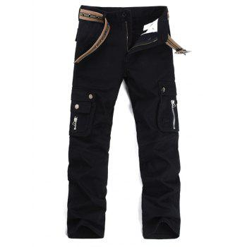 Zipper Fly Multi Pockets Cargo Pants - BLACK BLACK