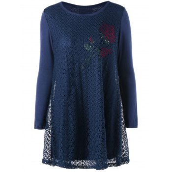 Plus Size Rose Pattern Openwork Tunic Blouse - CADETBLUE CADETBLUE