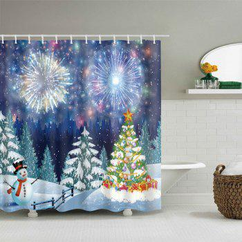 Christmas Forest Firework Print Waterproof Fabric Shower Curtain   COLORMIX  W71 INCH * L79 INCH ...