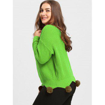 Chunky Knit Plus Size Tunic Sweater with Pompous - GREEN GREEN