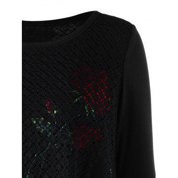 Plus Size Rose Pattern Openwork Tunic Blouse - BLACK BLACK