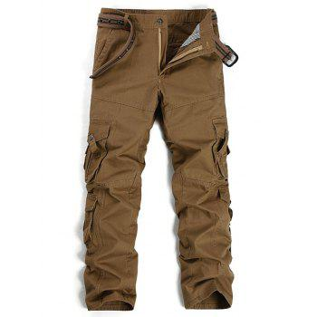 Straight Leg Pockets Design Cargo Pants - COFFEE COFFEE
