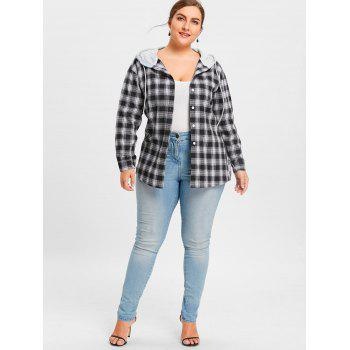 Plus Size Hooded Plaid Drop Shoulder Shirt - CHECKED 5XL