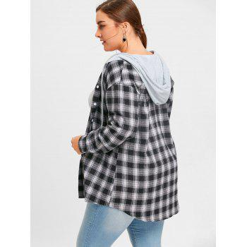 Plus Size Hooded Plaid Drop Shoulder Shirt - CHECKED CHECKED