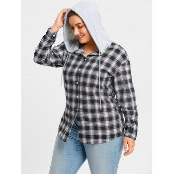 Plus Size Hooded Plaid Drop Shoulder Shirt - CHECKED 2XL