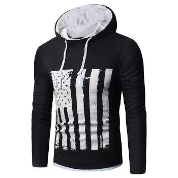 Distressed American Flag Print T-shirt - WHITE AND BLACK WHITE/BLACK