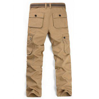 Zipper Fly Multi Pockets Cargo Pants - KHAKI KHAKI