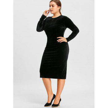 plus size long sleeve velvet dress, black, xl in plus size dresses