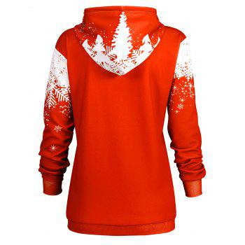 Plus Size Christmas Snowflake Tree Hoodie with Pocket - RED 4XL