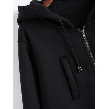 Drawstring Long Plus Size Hooded Coat - BLACK BLACK