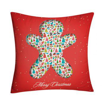 Christmas Elements Print Decorative Square Pillowcase - RED RED