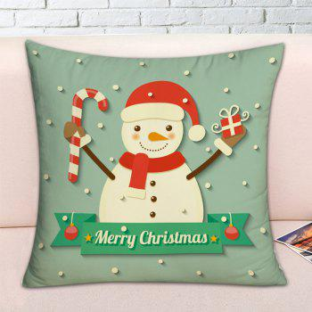 Christmas Snowman Pattern Square Decorative Pillow Case - GREEN W17.5 INCH * L17.5 INCH