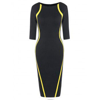 Half Sleeve Knee Length Tight Dress - YELLOW AND BLACK YELLOW/BLACK