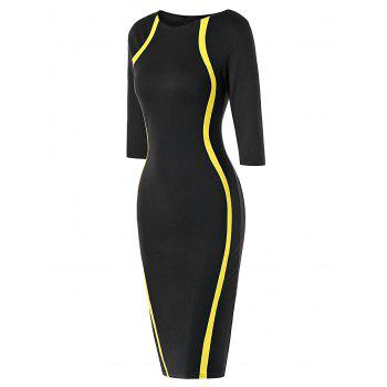 Half Sleeve Knee Length Tight Dress - YELLOW/BLACK L