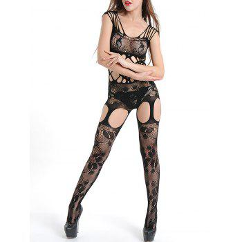 Cut Out Fishnet Suspender Bodystockings - BLACK ONE SIZE