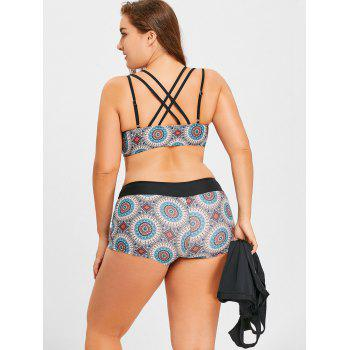 Plus Size Floral Print Three Piece Swimsuit - COLORMIX 2XL