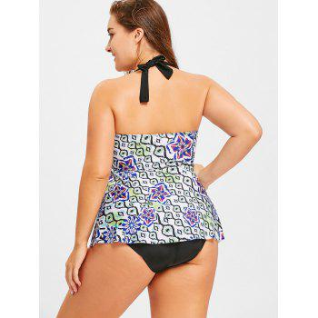 Floral Handkerchief Plus Size Tankini Set - WHITE 3XL