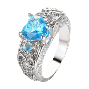 Faux Gem Heart Engraved Finger Ring - WINDSOR BLUE WINDSOR BLUE
