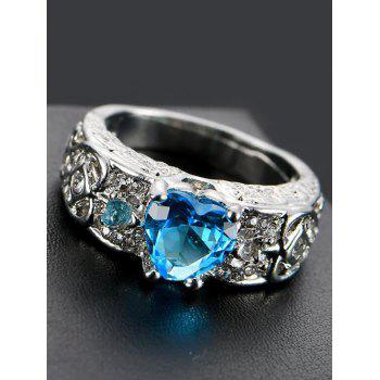 Faux Gem Heart Engraved Finger Ring - WINDSOR BLUE 9