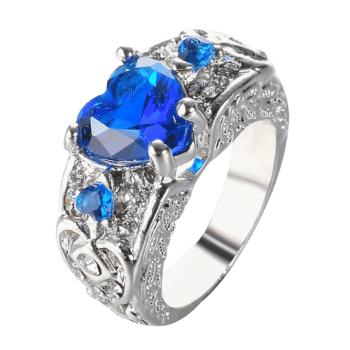 Faux Gem Heart Engraved Finger Ring - ROYAL 10