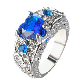 Faux Gem Heart Engraved Finger Ring - ROYAL ROYAL