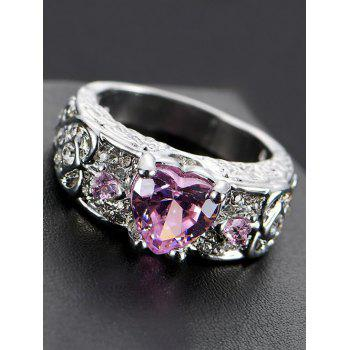 Faux Gem Heart Engraved Finger Ring - PINK PINK