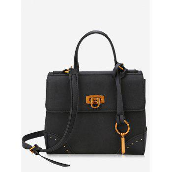 Multi Function Rivets Metal Handbag - BLACK BLACK