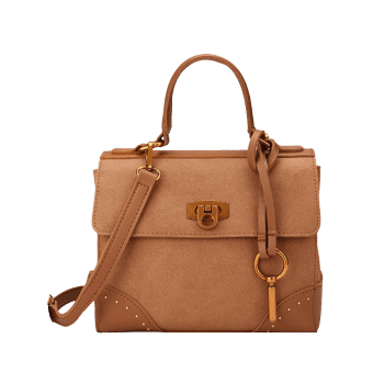 Multi Function Rivets Metal Handbag - BROWN