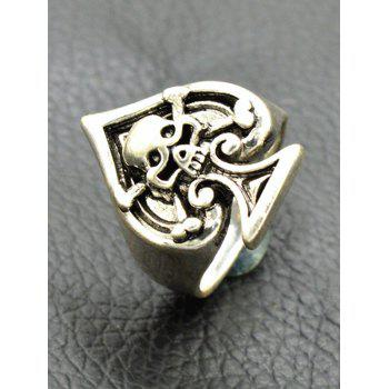 Vintage Engraved Skull Crossbones Heart Ring - SILVER ONE-SIZE