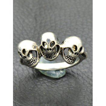 Punk Alloy Engraved Skulls Finger Ring - SILVER SILVER