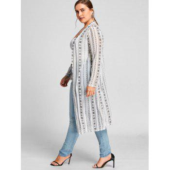Floral Print Collarless Plus Size Coat - WHITE WHITE