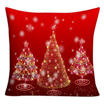 Sparkling Christmas Tree Print Decorative Pillowcase - RED RED
