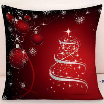 Christmas Hanging Balls Snowflake Print Decorative Pillow Case - DARK RED W18 INCH * L18 INCH