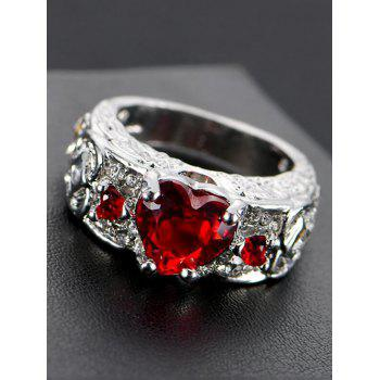 Faux Gem Heart Engraved Finger Ring - RED RED