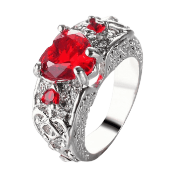 Faux Gem Heart Engraved Finger Ring - RED 7