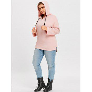 Plus Size Fleece Lined Long Pullover Hoodie - PINK 5XL