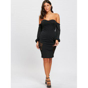 Lace Insert Tube Bodycon Dress - BLACK BLACK
