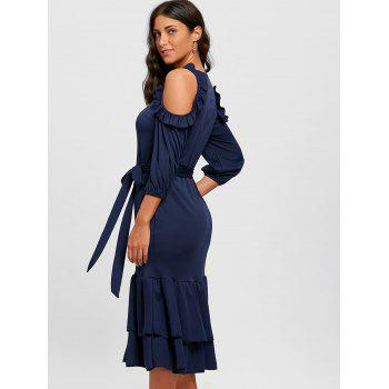 Ruffles Cold Shoulder Belted Midi Dress - CERULEAN XL