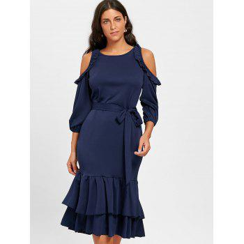Ruffles Cold Shoulder Belted Midi Dress - CERULEAN 2XL