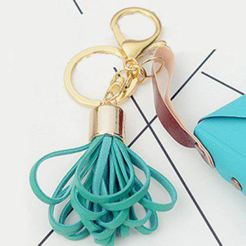 Cute Artificial Leather Bag Tassel Keychain - BLUE