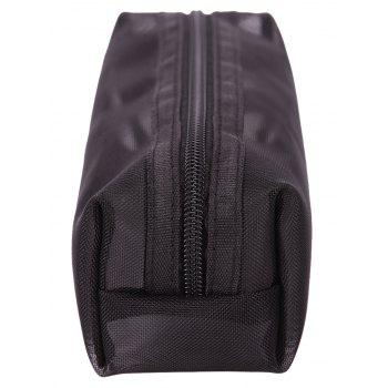 Zipper Black Mesh Travel Makeup Bag -  BLACK