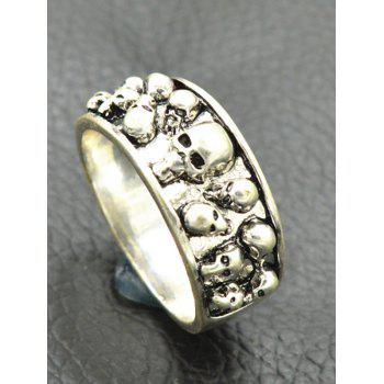 Alloy Engraved Cool Skulls Ring - SILVER ONE-SIZE